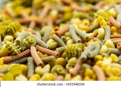 Fresh Pasta Shallow Focus of multiple shapes and colors of noodles