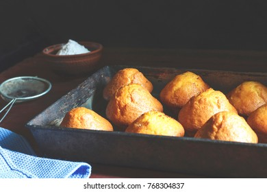 Fresh pastries in a baking tray