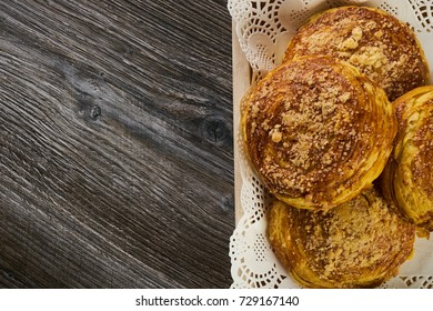 Fresh pastries Gogal on wooden table background with copy space, top view, closeup. Traditional Azerbaijan Cookie on Novruz Easter holiday