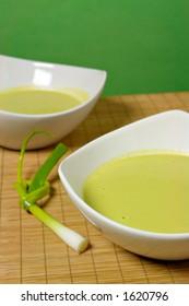 Fresh Pea Soup Served
