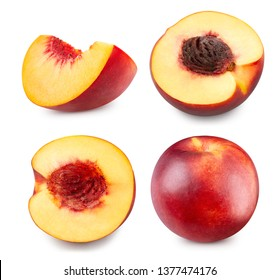 Fresh peach collection Clipping Path. Peach isolated on white background. Professional studio macro shooting