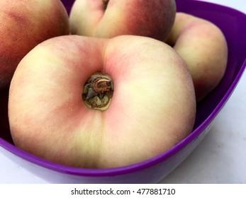Fresh peach fruit in closeup