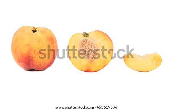 Fresh Peach with half and slice isolated on white background