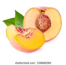 Fresh peach isolated on white background