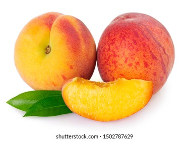 fresh peach isolated on white background closeup