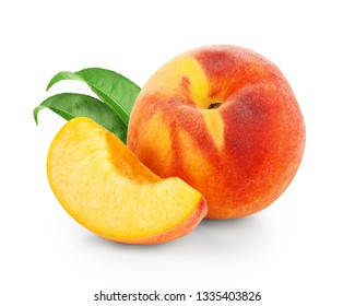 Fresh peach with slice isolated on white background