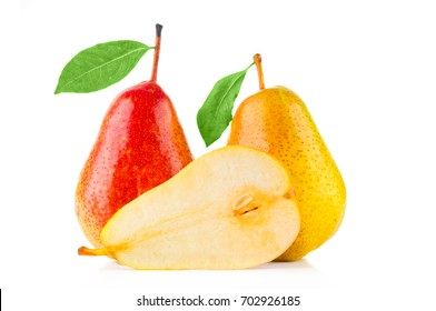 Fresh pears closeup on white background