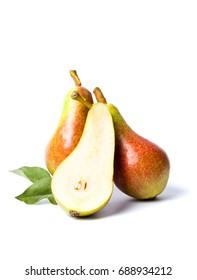 Fresh pears fruit isolated on white background