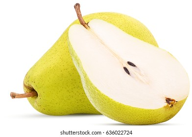 Fresh pears, one and a half yellow fruit isolated on white background