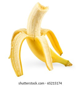 fresh peeled banana on white background