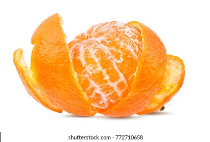 Fresh peeled mandarin orange isolated on white background with clipping path