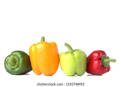 Fresh pepper on white background. Fresh paprika isolated.