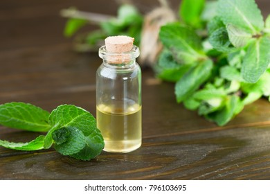 Fresh peppermint  oil on wooden background