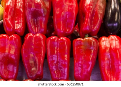 fresh peppers on the market