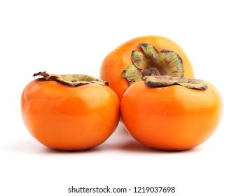 Fresh persimmon fruit isolated on white background.