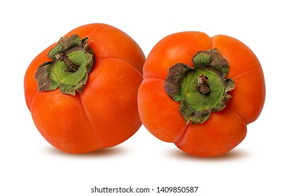 Fresh persimmon isolated on white background with clipping path