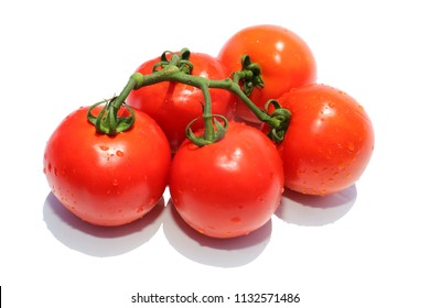 Fresh Picked Home Grown Tomato's. Isolated on white. Room for text. Healthy Food for all Meals, Salads and Soups.