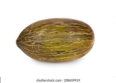 Fresh Piel de Sapo Melon isolated on white Background