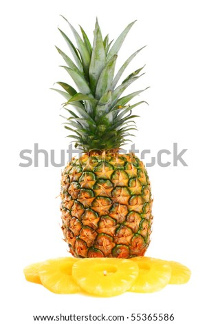 Fresh pineapple on white