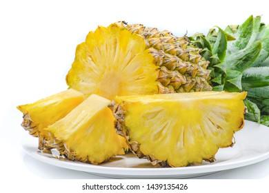 fresh pineapple slice dish organic