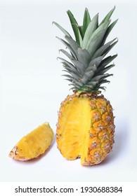 Fresh pineapple sliced on white background, closeup