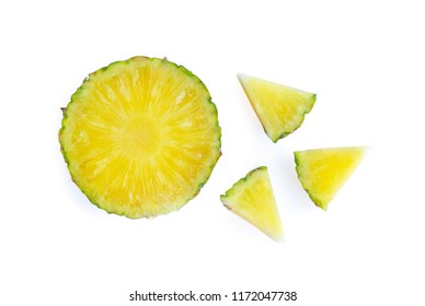 Fresh pineapple slices isolated on white background