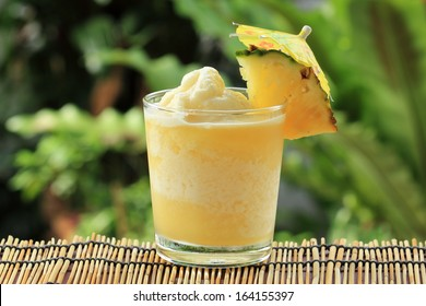 Fresh Pineapple Smoothie with slice of Pineapple