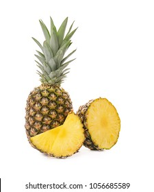 Fresh pineapples on white background