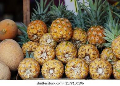 Fresh pinepples at popular marketplace Carmel Market, Shuk HaCarmel in Tel Aviv, Israel