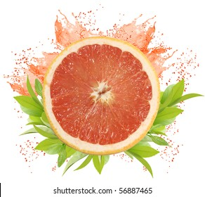 fresh pink grapefruit with leaves and juice splashes isolated on white