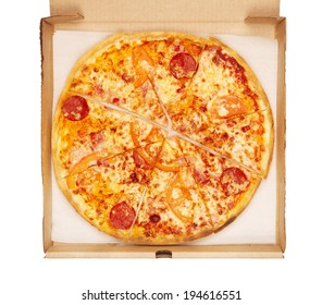 fresh pizza in box, isolated on white