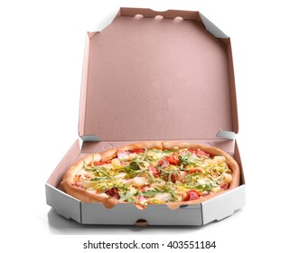 Fresh pizza in carton box isolated on white