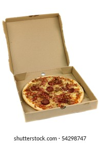 Fresh pizza isolated against a white background