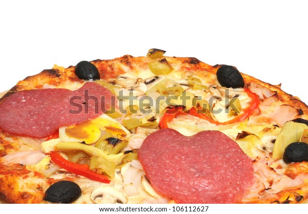 Fresh pizza with salami and ham