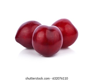 Fresh plum is isolated on white background.