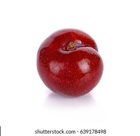 Fresh plum isolated on the white background.closeup