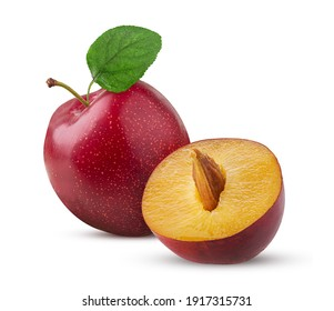 Fresh plum one cut in half with green leaf isolated on white background. Clipping Path. Full depth of field. - Shutterstock ID 1917315731