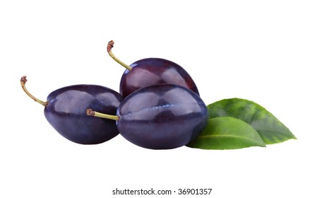 Fresh plums isolated on white background