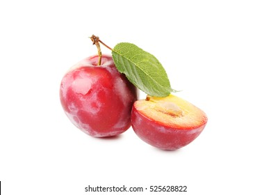 Fresh plums isolated on a white