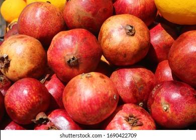 Fresh pomegranate fruit in a batch