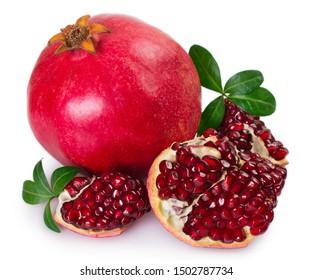 fresh pomegranate isolated on white background closeup
