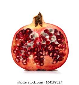 fresh pomegranate on white background