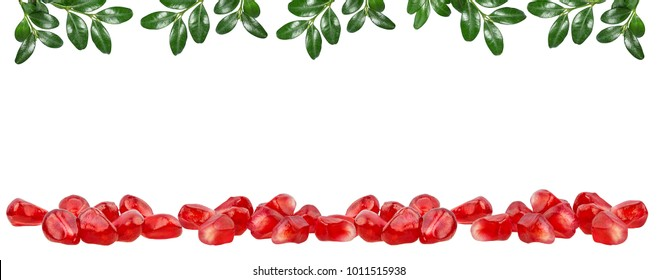 Fresh pomegranate seeds add leafs frame isolated on white background with clipping path