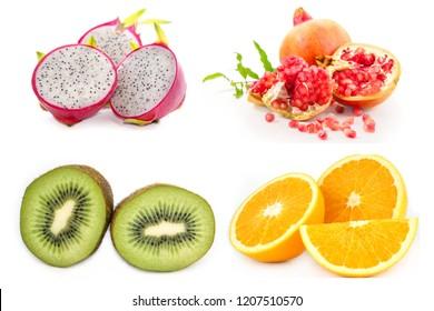 The fresh pomegranate,orange,Dragon fruit,kiwi.