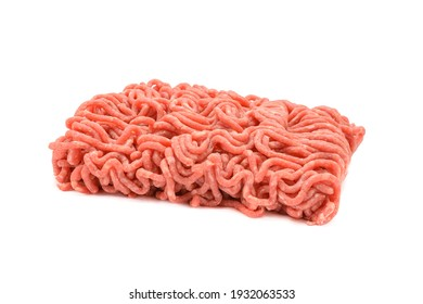 Fresh pork and beef minced meat, garnished with garlic, red pepper and dill.Isolated on a white background.horizontal view