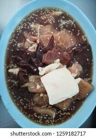 Fresh pork and liver pork for thai bbq