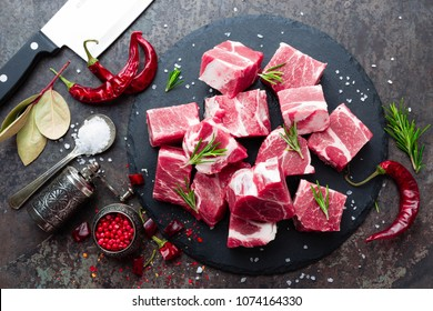 Fresh pork meat. Raw sliced pork meat. Pork neck