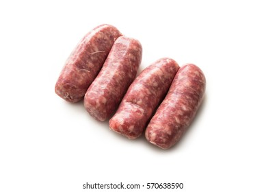 Fresh pork sausages isolated on white background