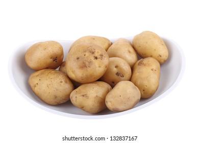 Fresh potato isolated on white background
