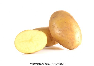 Fresh potatoes full ball and cut half isolated on white background.